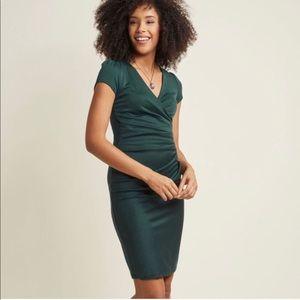 ModCloth Klaxons Faux Wrap Midi Sheath Dress Large